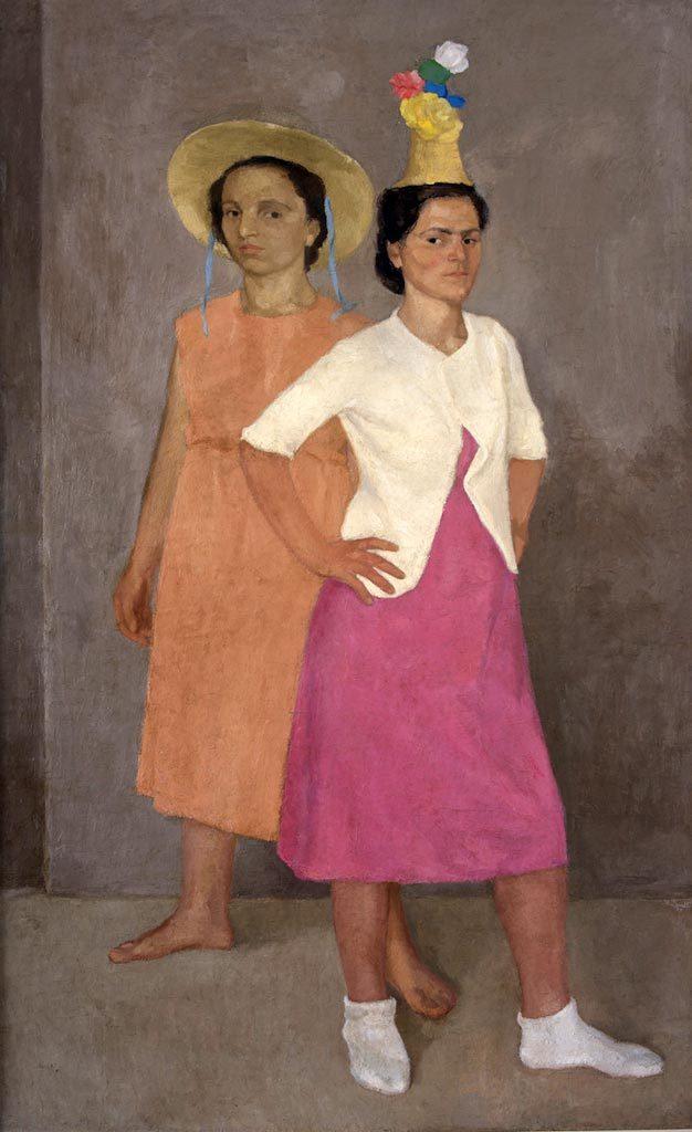 Emanuele Cavalli. Figure allo Specchio. Tecnica: Olio su tela, 137 x 83 cm. Collezione privata
