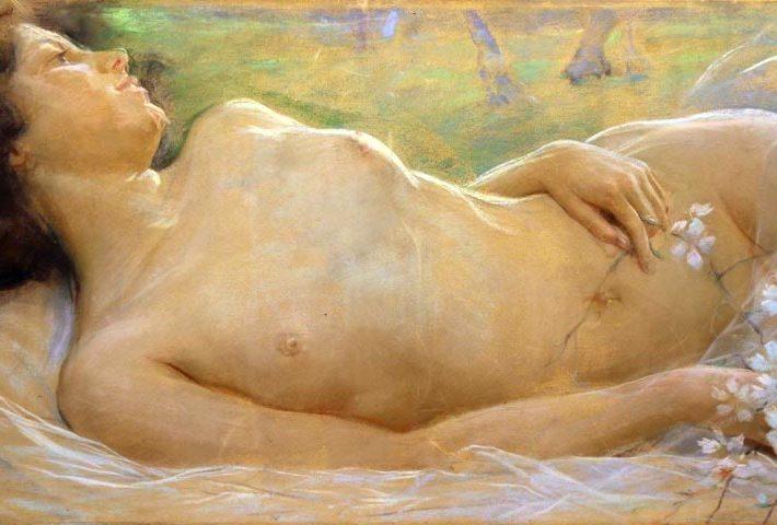 Gino Piccioni. Sogni di Primavera. Tecnica: Pastello su tela, 44 x 95 cm.