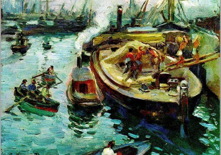 Giuseppe Pennasilico. Scaricatori di Sabbia, Porto di Genova. Tecnica: Olio su tela