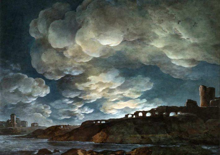 Dalla Terra alla Luna. Giuseppe Pietro Bagetti. Plenilunio sul Mare. Tecnica: Acquarello