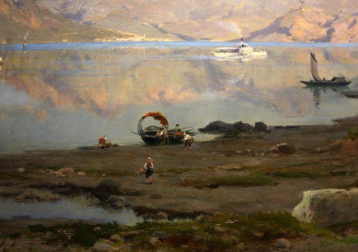 Silvio Poma. In Riva al Lago. Tecnica: Olio su tela