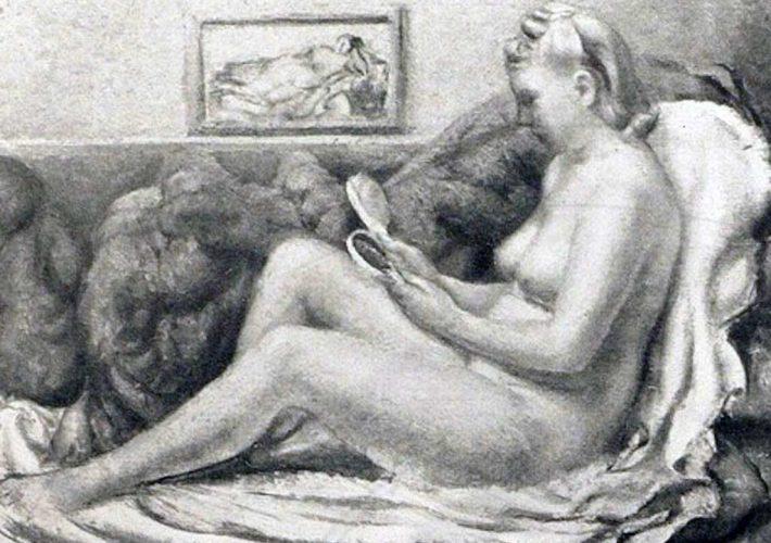 Giovanni Napoleone Pellis. Ragazza con lo Specchio. Tecnica: Olio su tela