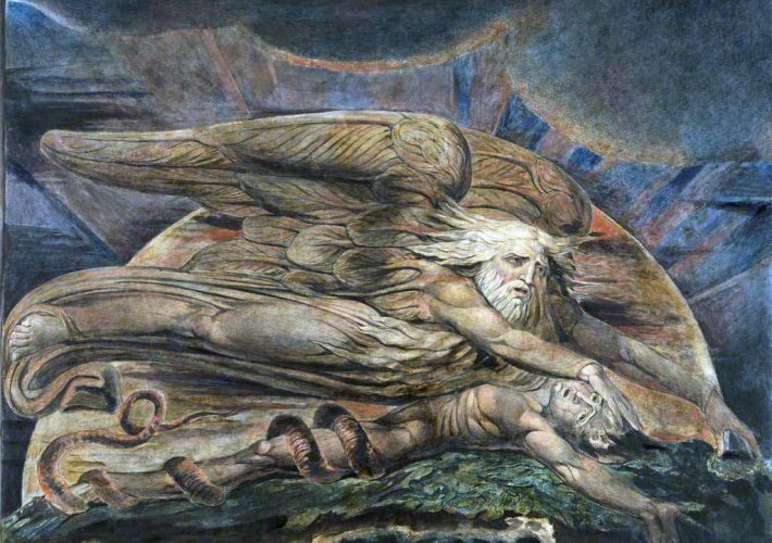 William Blake. Elohim che crea Adamo, 1795. Stampa Colorata, Inchiostro e Acquarello su Carta. , 431 x 536 mm, Londra, Tate Britain