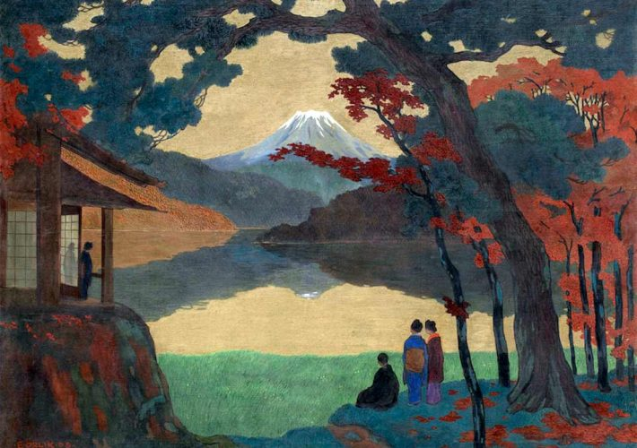 Giapponismo. Emil Orlik. Paesaggio con il Monte Fuji, 1908. Daxer & Marschall Gallery, Monaco