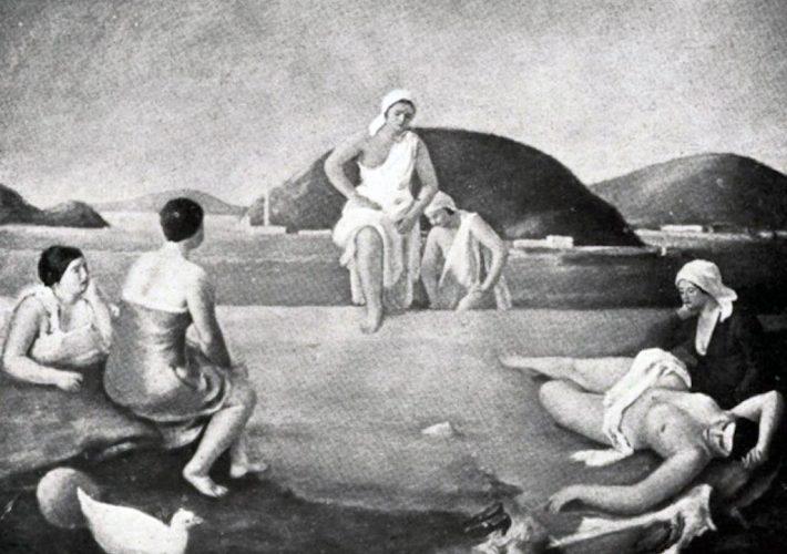 Francesco Di Cocco. Bagnanti. Tecnica: Olio su tela, 129 x 103 cm
