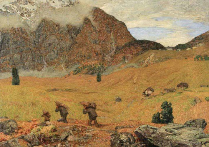 Carlo Fornara e il Divisionismo. Fine d'Autunno in Valle Maggia, 1908. Tecnica: Olio su tela, 153 x 173 cm. Collezione privata