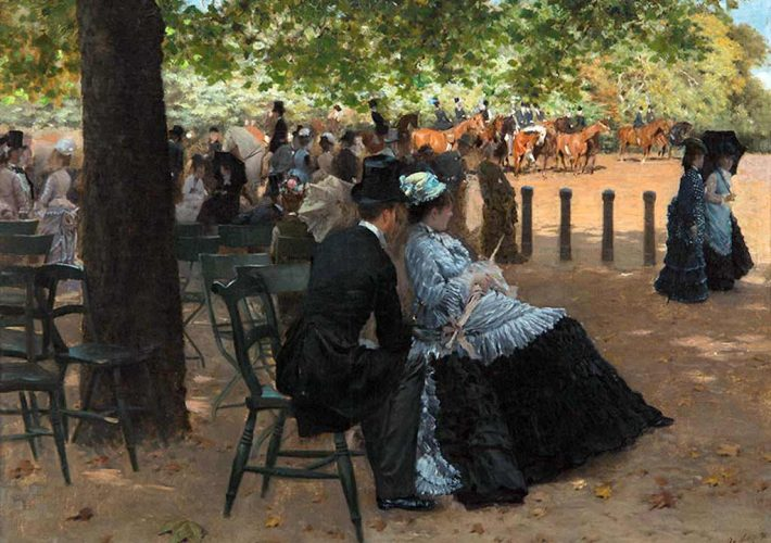 De Nittis a Ferrara. Giuseppe De Nittis. Flirtation, Hyde Park, 1874. Tecnica: Olio su Tela, 33 x 43 cm, Collezione privata, Napoli, courtesy Enrico Gallerie d'Arte