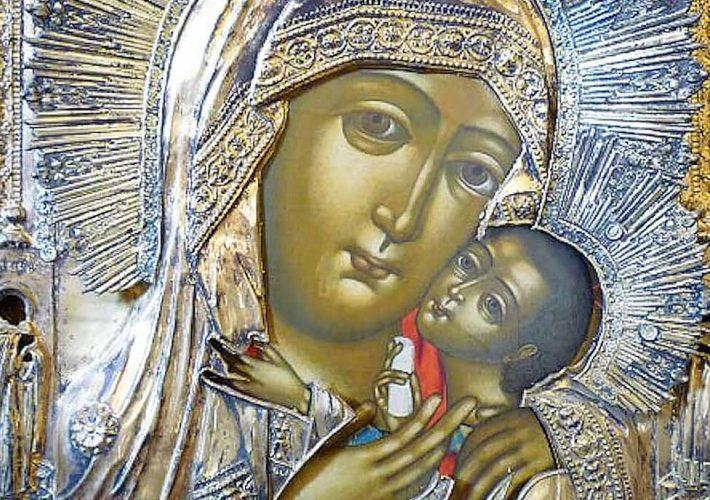 Icone russe. Icona Russa con Madre di Dio (dettaglio). Tecnica: Pittura su Tavola