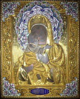 Icone russe. Icona Russa con Theotokos - Pittura su Tavola