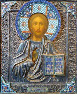 Icona Russa con Cristo Pantocratore - Pittura su tavola