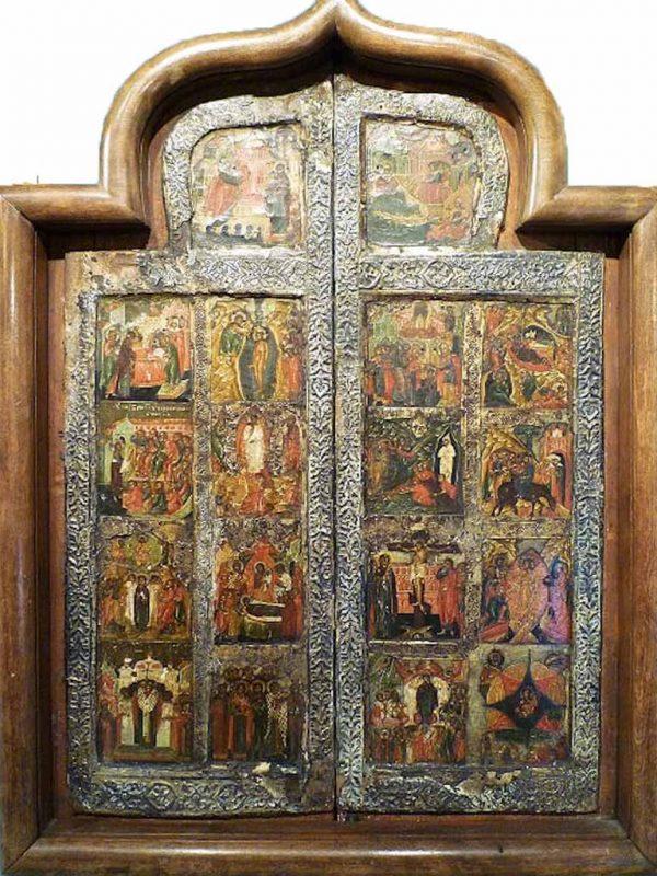 Icone russe. Porta di Iconostasi con Scene Cristologiche - Icone Russe
