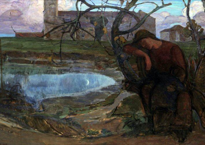 Umberto Moggioli a Ca' Pesaro. Umberto Moggioli. Sera a Mazzorbo, 1913. Tecnica: Olio su tela, 184,4 x 119,2 cm.