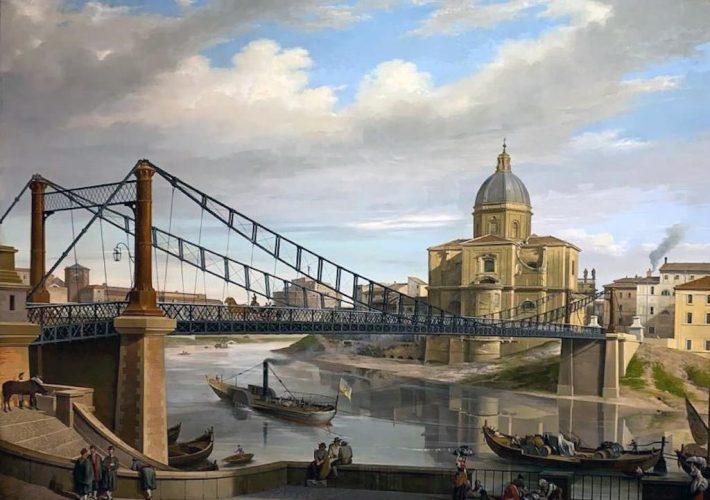 Annibale Angelini. Il Ponte del Soldino, 1869. Tecnica: Olio su tela, 99 x 136 cm