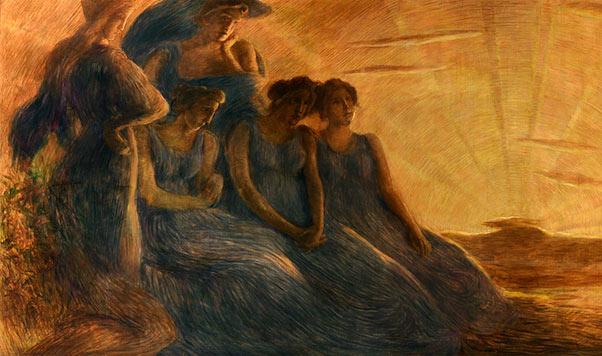 Simbolismo e futurismo. Gaetano Previati. Armonia, 1908 (dettaglio). Tecnica: Olio su tela