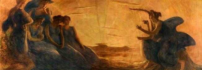 Simbolismo e futurismo. Gaetano Previati. Armonia, 1908. Olio su Tela, 166 x 492 cm.