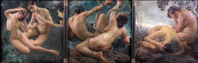 Giovanni Battista Crema. L'Eterna Vicenda. Trittico: Tecnica: Olio su Tela, 90 x 90 cm per pannello.