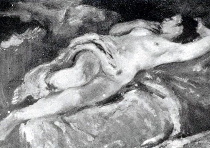Ennio Pozzi. Nudo Giacente. Tecnica: Olio su tela, 120 x 70 cm