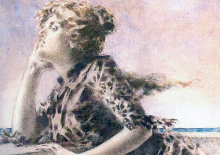 Luigi Conconi. Marina, Sinestesia evocativa del mare, 1886 (dettaglio). Tecnica: Tempera e acquarello su cartone