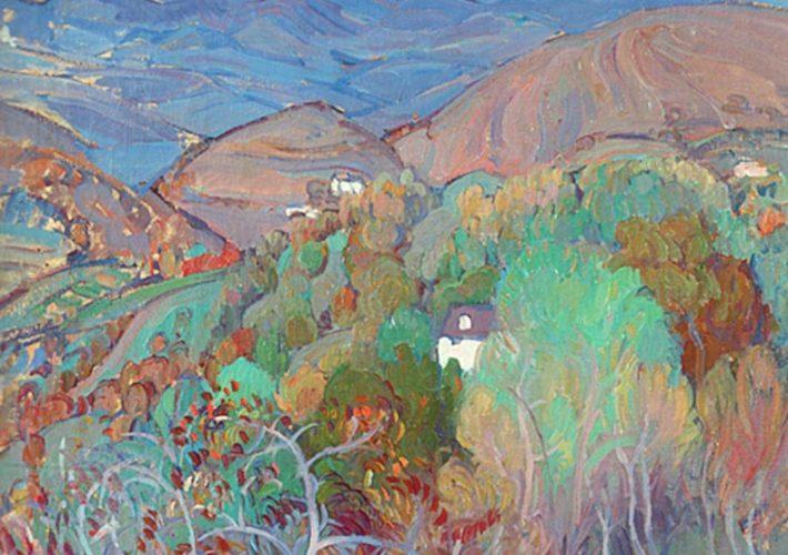 Il Novecento. Umberto Moggioli. Paesaggio asolano, 1914 (dettaglio). Tecnica: Olio su tela, 72 x 60 cm. Collezione privata