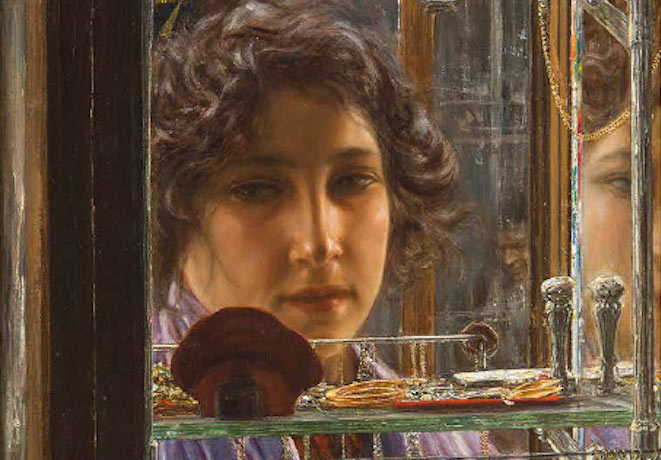 Liberty a Napoli. Vincenzo Migliaro. Seduzioni, 1906 (dettaglio). Tecnica: Olio su tela, 62 x 42 cm, Collezione privata, Napoli